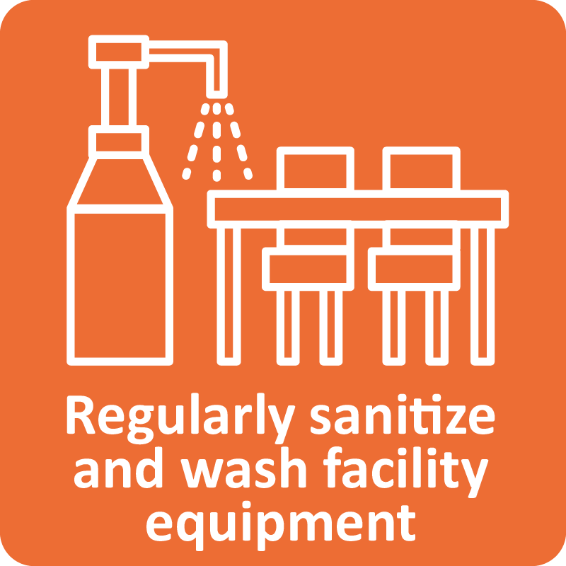 Regularly sanitize and wash facility equipment